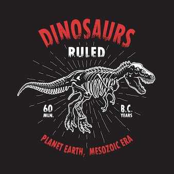 Estampado de camiseta de esqueleto de dinosaurio tiranosaurio. estilo vintage