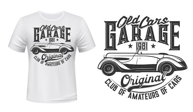 Estampado de camiseta de estación de garaje de coche retro