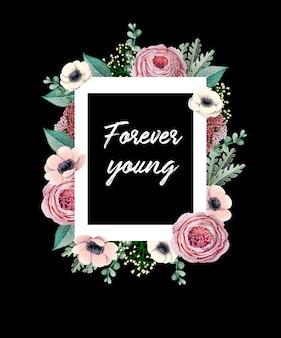 Estampado para camiseta con rosa inglesa, anémona, eucalipto