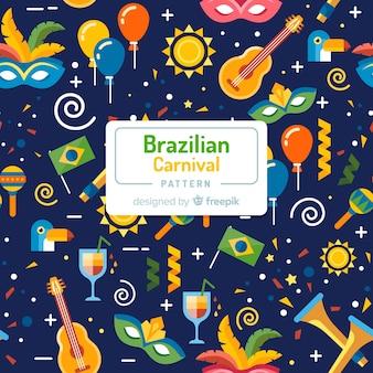 Estampado del carnaval de brasil en diseño plano