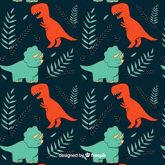 Estampado colorido de dinosaurios dibujado a mano