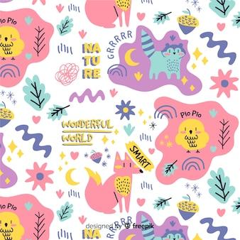 Estampado colorido de garabatos de animales y palabras