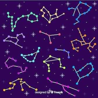 Estampado colorido de horóscopo dibujado a mano