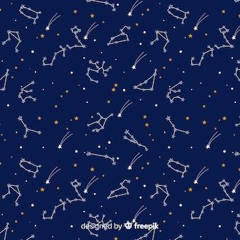 Estampado colorido del horóscopo dibujado a mano