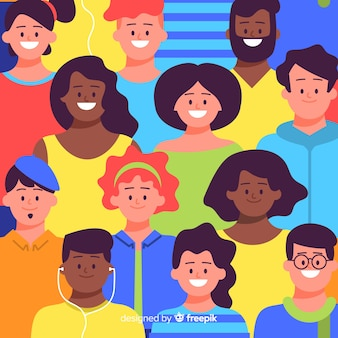 Estampado colorido de personas jóvenes en diseño plano