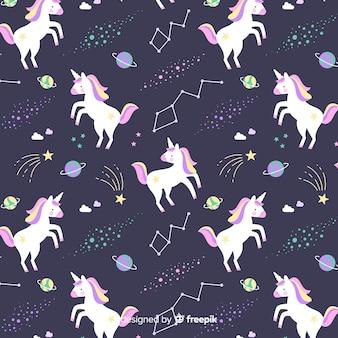 Estampado colorido de unicornios adorables dibujado a mano