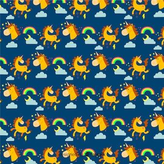 Estampado colorido de unicornios adorables en diseño plano