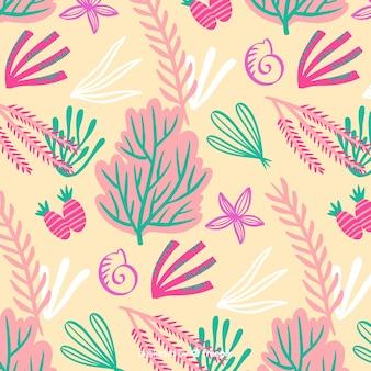 Estampado de corales dibujados a mano