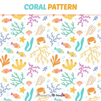 Estampado de corales en diseño plano