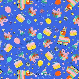 Estampado de cumpleaños en diseño plano