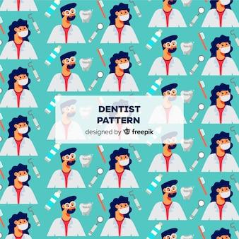 Estampado de dentista en diseño plano