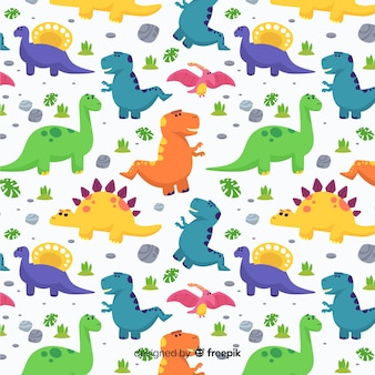 Estampado de dinosaurio en diseño plano