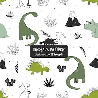 Estampado de dinosaurios dibujado a mano