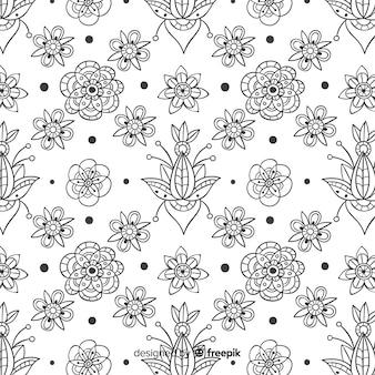 Estampado de elementos flores dibujados
