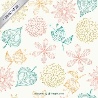 Estampado floral en estilo esbozado