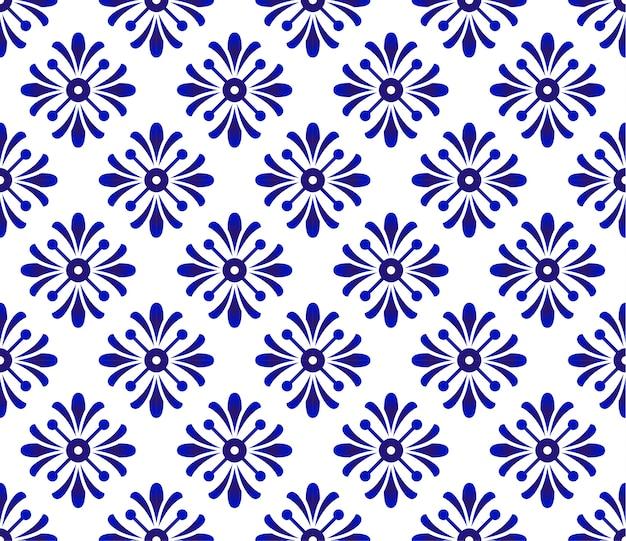 Estampado de flores azul y blanco, fondo de cerámica, diseño de porcelana, decoración de papel tapiz vecto