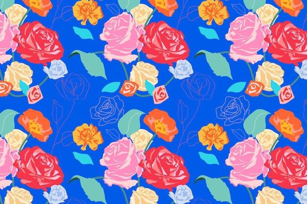 Estampado de flores estético rosa con fondo de rosas azul