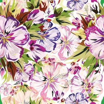 El estampado de flores hermoso adornó el fondo inconsútil