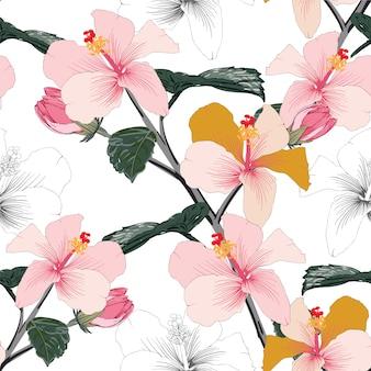 Estampado de flores transparente color rosa flores de hibisco color pastel.