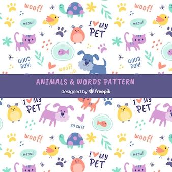 Estampado de garabatos de animales y palabras
