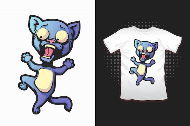 Estampado de gato para diseño de camiseta.