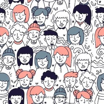 Estampado de gente joven dibujado a mano