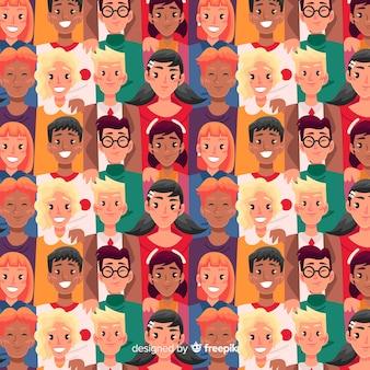 Estampado de gente joven sonriendo en diseño plano