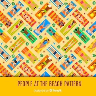 Estampado de gente en la playa