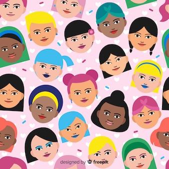 Estampado de grupo interracial de mujeres