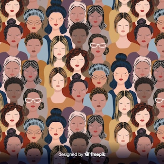 Estampado grupo de mujeres interracial
