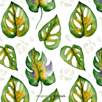 Estampado de hojas de monstera en acuarela