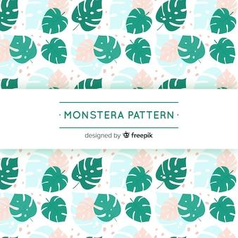 Estampado de hojas de monstera en diseño plano