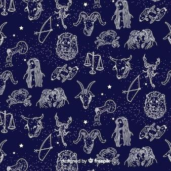 Estampado de horóscopo realista dibujado a mano