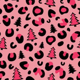 Estampado de leopardo de navidad árbol de navidad patrón de leopardo patrón transparente de vector de leopardo de camuflaje