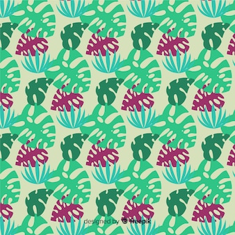 Estampado de monstera en diseño plano