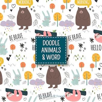 Estampado de palabras y animales