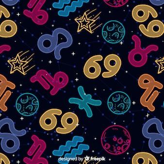 Estampado de signos del zodiaco coloridos dibujados a mano