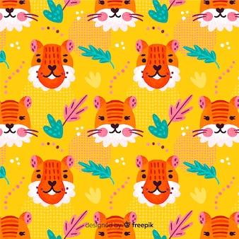 Estampado de tigre dibujado a mano