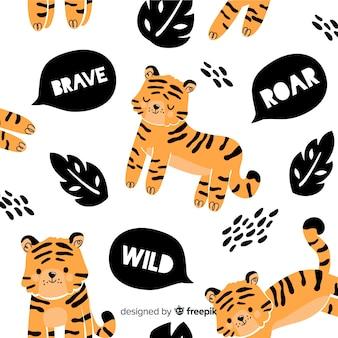 Estampado de tigres adorables