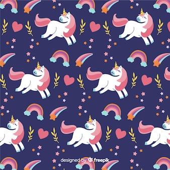 Estampado de unicornios adorables dibujados a mano