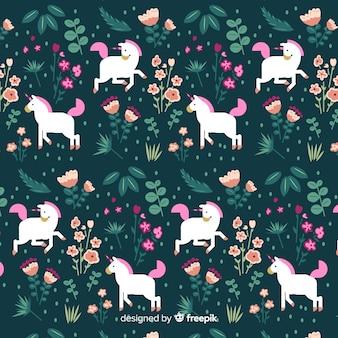 Estampado de unicornios adorables en diseño plano