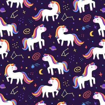 Estampado de unicornios dibujado a mano