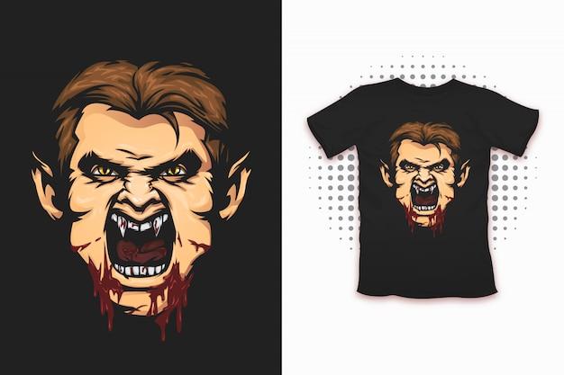 Estampado vampiro para diseño de camiseta.