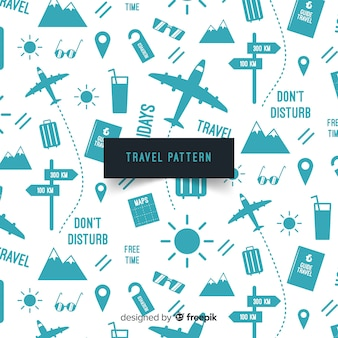 Estampado de viaje con artículos y líneas de trazos