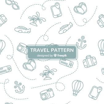 Estampado de viaje con elementos y línea de trazos