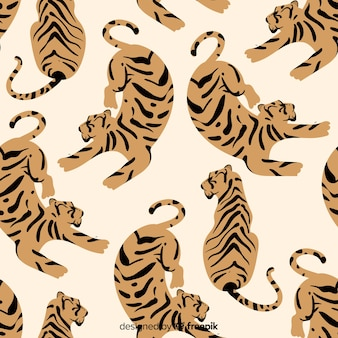 Estampado vintage de tigre dibujado