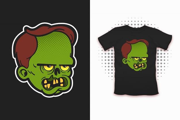 Estampado zombie para diseño de camiseta.