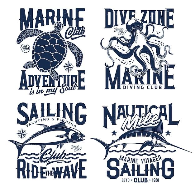 Estampados de camisetas náuticas marinas con olas del mar, iconos del club oceánico. club de buceo, vela y yate