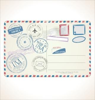 Estampilla postal y tarjeta postal.