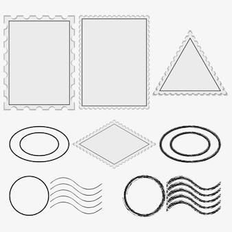 Estampillas postales en blanco e impresión. marco de matasellos vintage. ilustración vectorial.